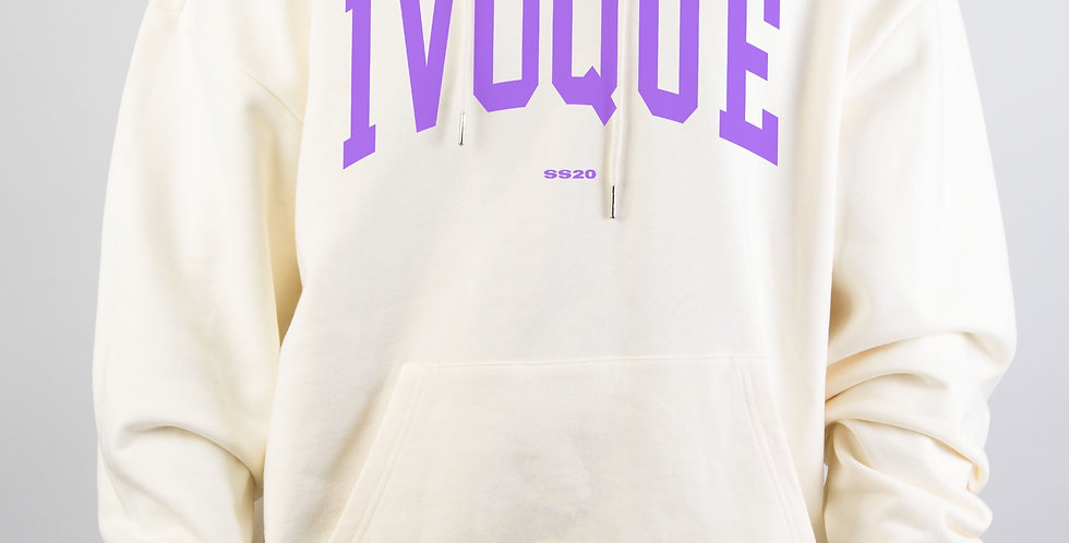 IVOQUÉ - Logo Hoodie Cream Purple