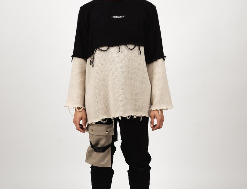 BOMBER CLOTHING - Sweater Distressed Double Knit