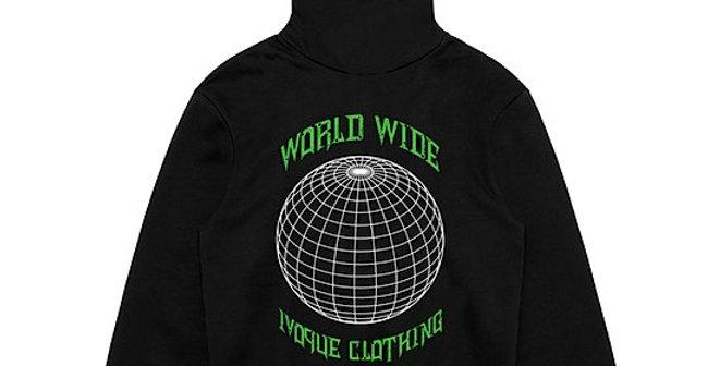 """IVOQUÉ - Hoodie Black / Green """"WORLD"""""""