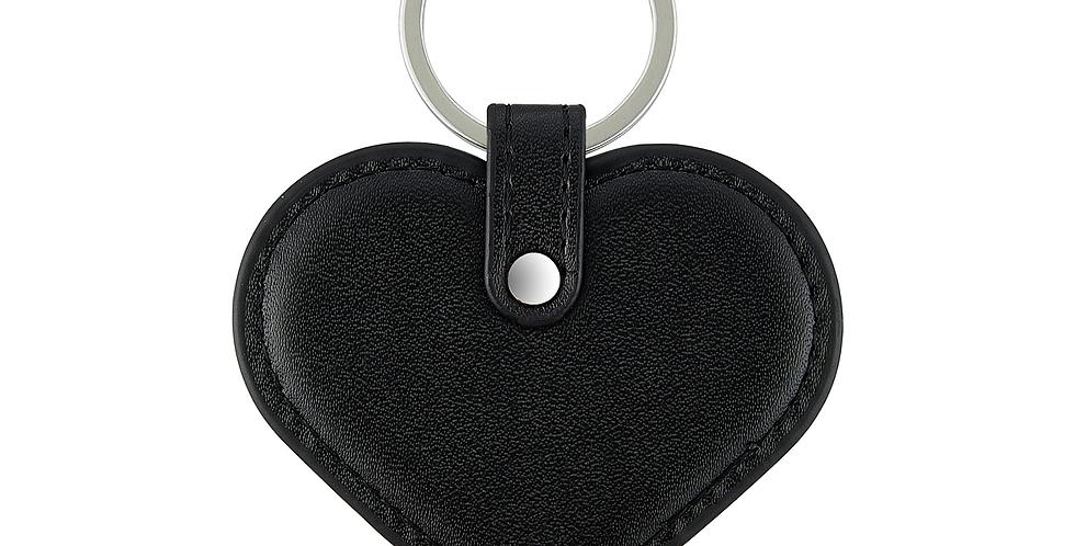 MONAME - Schlüsselanhänger Herz Pebbleleder | Schwarz