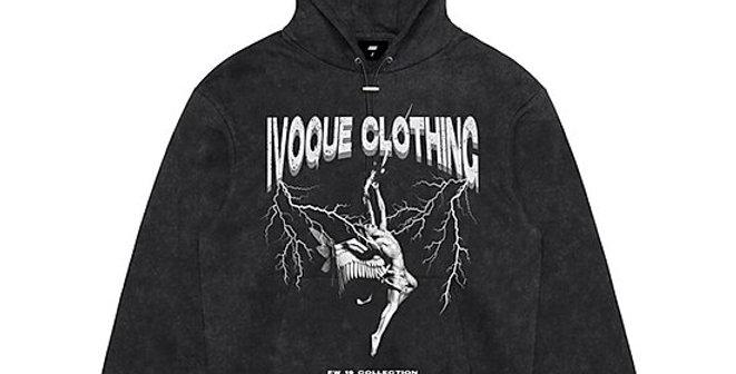 IVOQUÉ - Hoodie Washed Grey 'THUNDERSTORM'