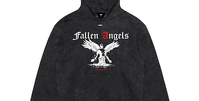"IVOQUÉ - Hoodie Washed Grey ""FALLEN ANGELS"""