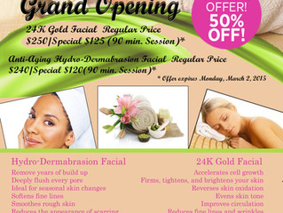 Enjoy Our January 50% Off Grand Opening Facial Specials!