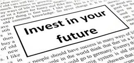 background image of a newspaper showing an advertisement to invest in your future
