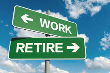 Backgroun image of a set of signs, one pointing towards work and the other to retirement