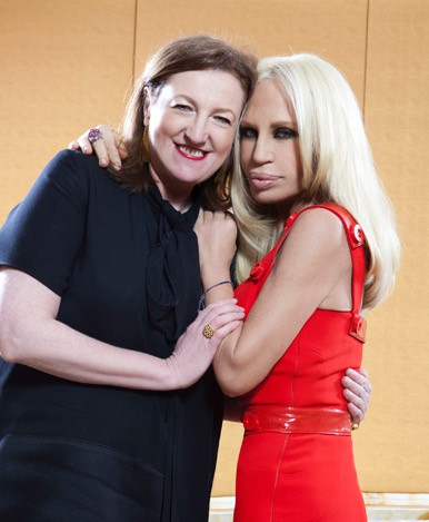 Glenda Bailey and Donatella Versace