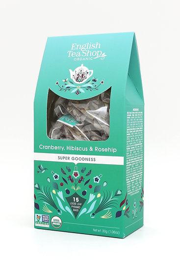 Cranberry, Hibiscus & Rosehip (15 Loose leaf pyramid tea bags)   059608