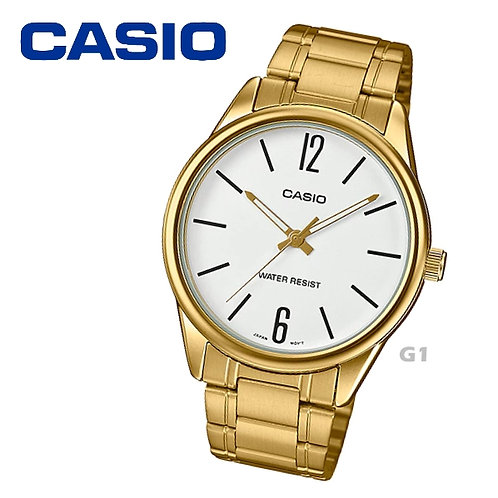Casio Gold Stainless Steel Watch (Unisex) | MTP-V005G-7B | G1