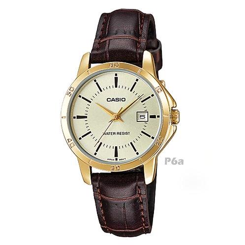 Casio Leather Watch (Ladies) | LTP-V004GL-9A | P6a