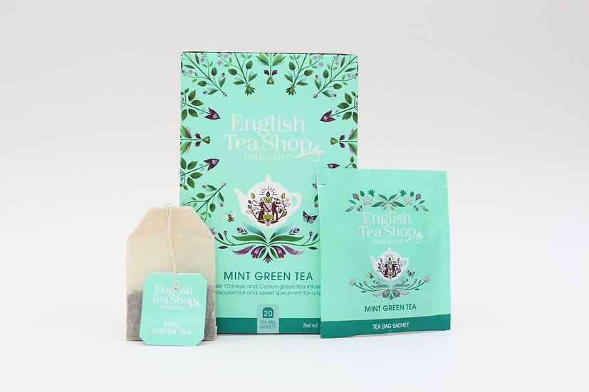 Mint Green Tea (20 Tea Bag Sachets)   English Tea Shop   BR578952