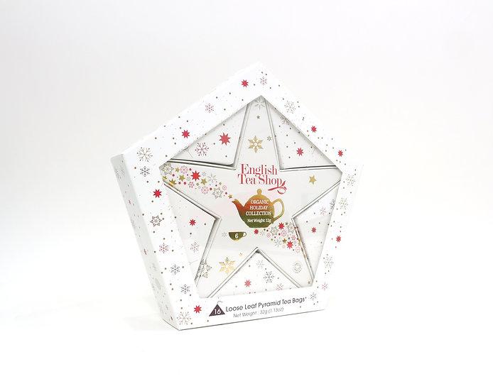Red & Gold Star (16 Loose Leaf Tea Pyramid Bags)   English Tea Shop   060956