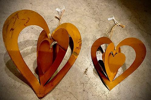 Cœur en fer rouillé : vendu à l'unité 10cm et 15cm