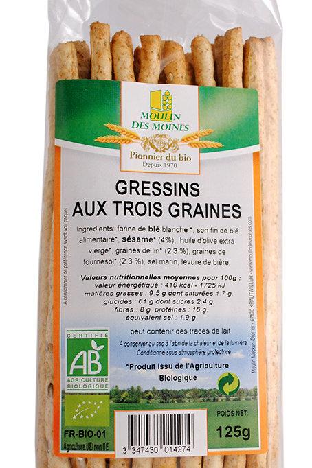 Gressin aux 3 graines BIO 125g