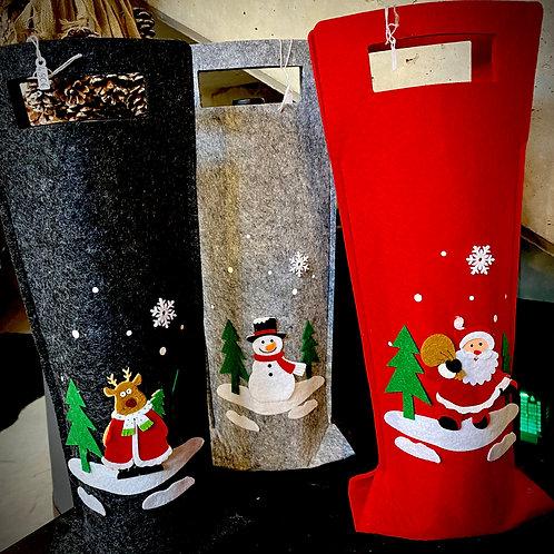 sac bouteille feutrine Noël