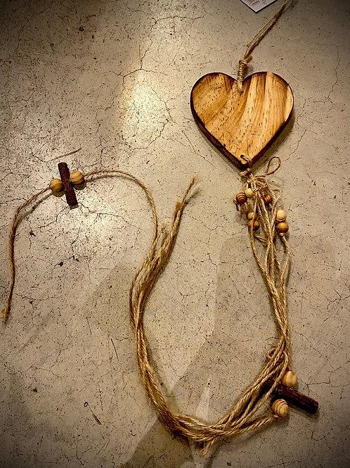 Cœur bois à suspendre 10cm