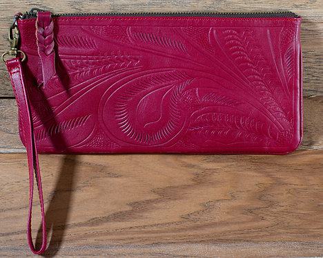 Tooled Leather Clutch - Pink