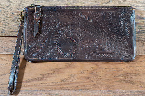 Tooled Leather Clutch - Walnut