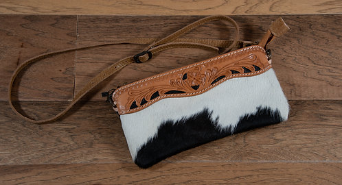 American Darling Tooled and Cowhide Clutch