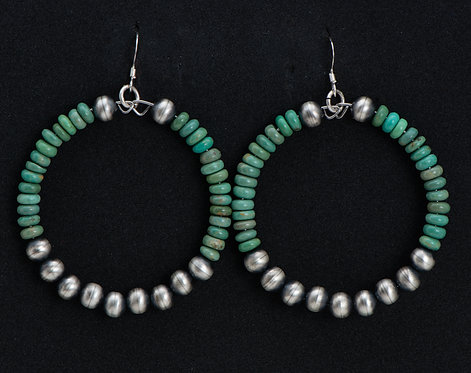 Native American Sterling Silver and Turquoise Hoop Earrings