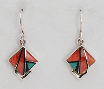 Native American Sterling Silver Spiny Oyster & Turquoise Inlaid Earrings