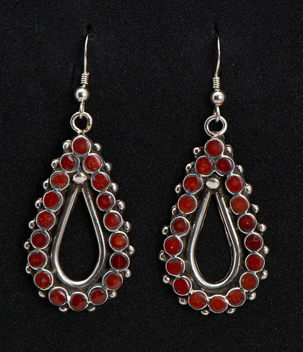 Vincent Shirley Native American Sterling Silver and Coral Earrings
