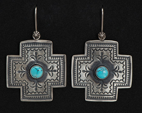 Donovan Cadman Native American Sterling Silver and Turquoise Earrings
