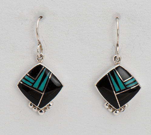 Native American Sterling Silver Black Onyx & Turquoise Earrings