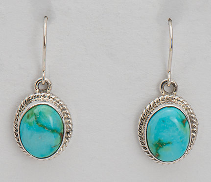 Native American Sterling Silver Sonoran Turquoise Earrings