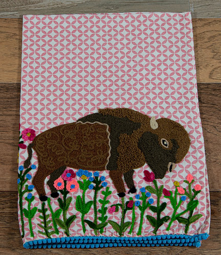 Buffalo Embroidered Hand Towel