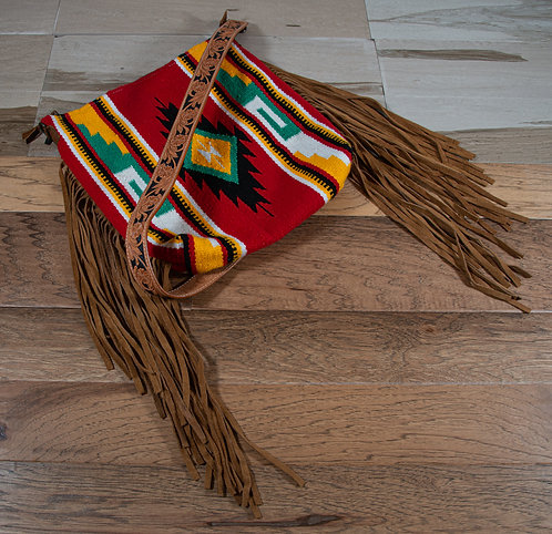 American Darling Saddle Blanket Fringe Crossbody - Red