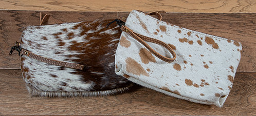Myra Brown and White Cowhide Clutch