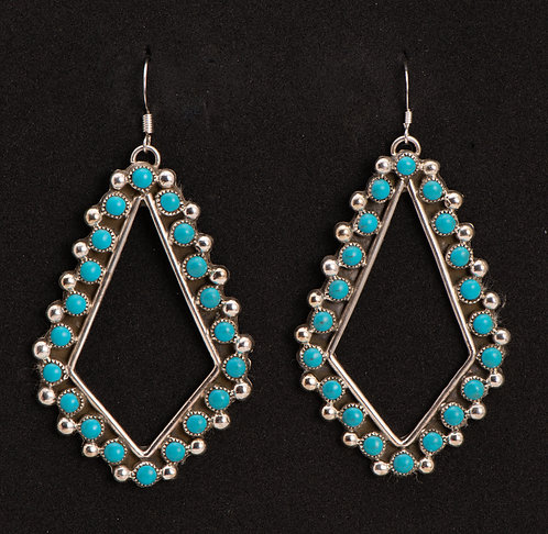 Native American Navajo Sterling Silver and Turquoise Earrings