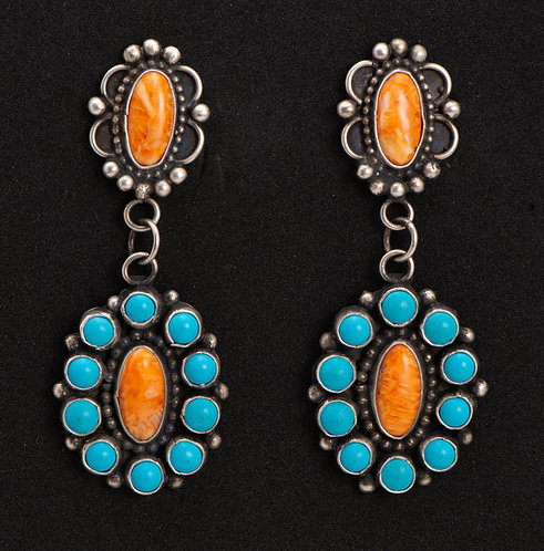 Lee Brown Native American Sterling Silver, Turquoise and Spiny Oyster Earrings