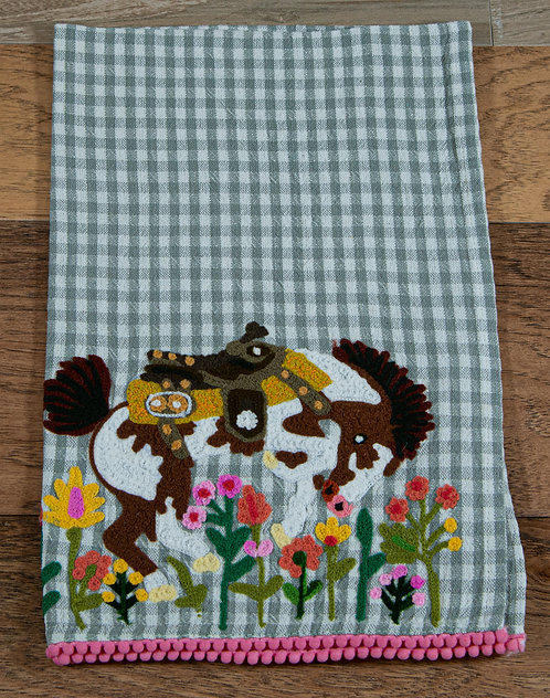 Buck'n Bronc Embroidered Hand Towel