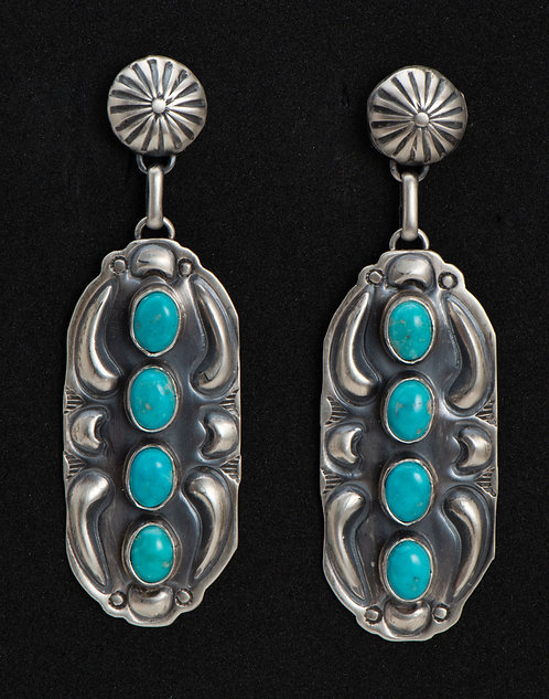 Jeff James Native American Sterling Silver and Turquoise Earrings