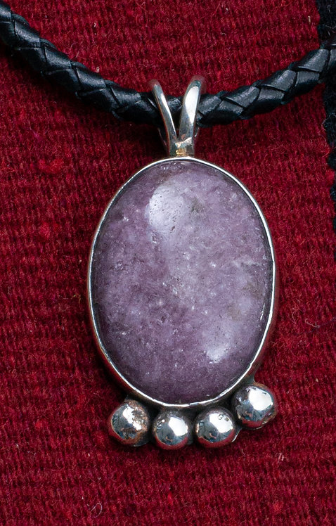Native American Sterling Silver and Purple Spiny Oyster Pendent
