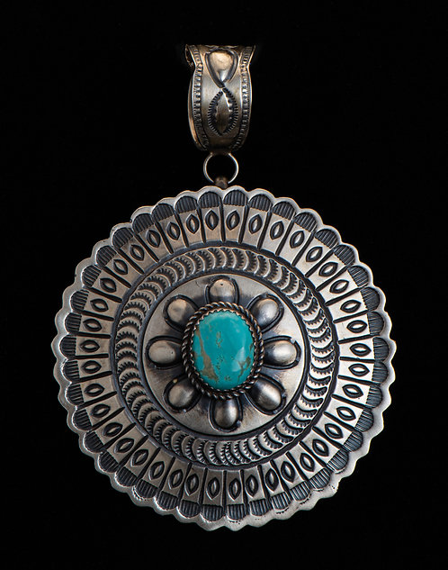 Martha Cayatineto Native American Sterling Silver Turquoise Pendant
