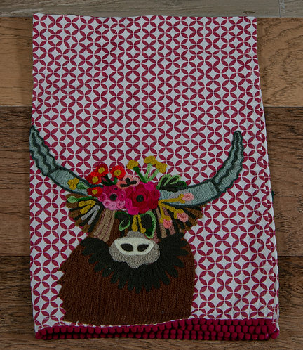 Highland Cow Embroidered Hand Towel