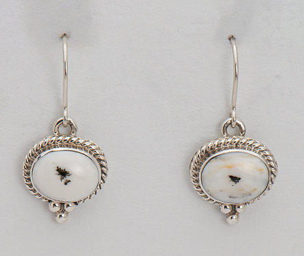 Native American Sterling Silver White Buffalo Earrings