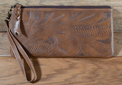 Tooled Leather Clutch - Dark Natural