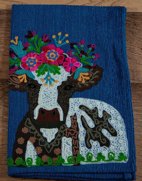 Cow Embroidered Hand Towel