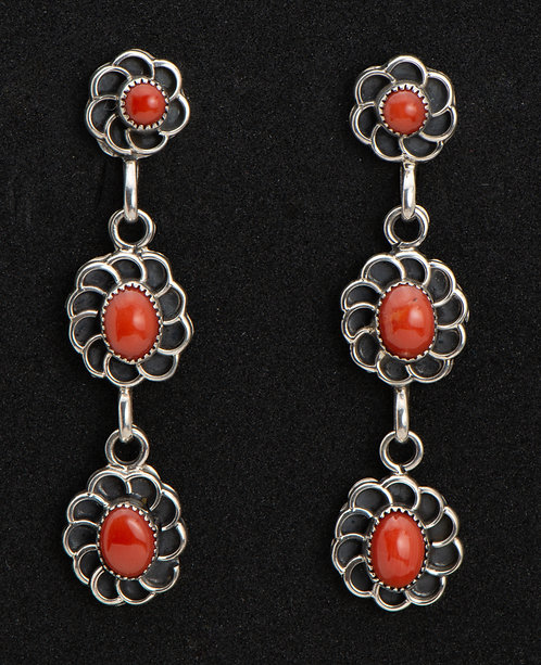 Native American Sterling Silver and Coral Earrings