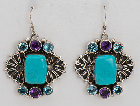 Native American Sterling Silver Turquoise & Topaz Earrings
