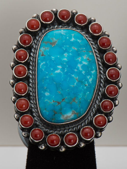 Gloria Begay, Turquoise & Coral Ring, 7.5
