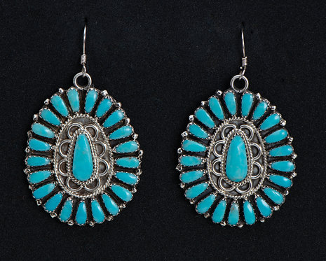 Zeita Begay Native American Sterling Silver and Turquoise Earrings
