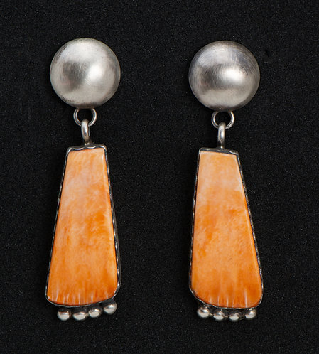 Native American Sterling Silver and Spiny Oyster Earrings