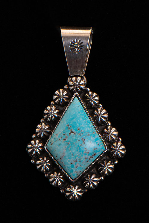C. Lewis Native American Sterling Silver Turquoise Pendant