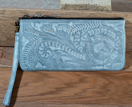 Tooled Leather Clutch - Whitewash