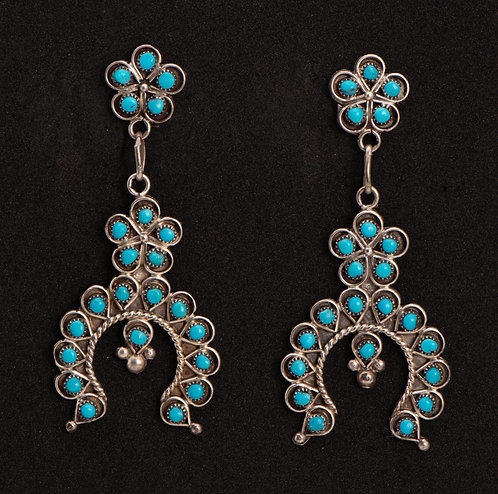 Native American Sterling Silver and Turquoise Earrings