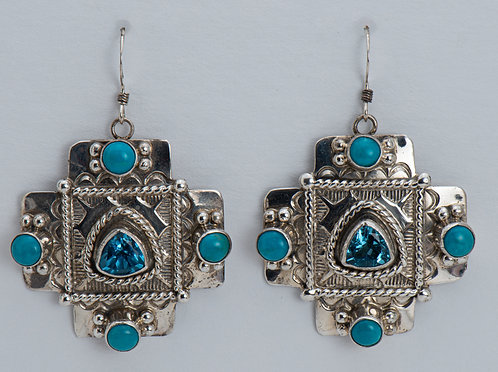 Native American Sterling Silver Turquoise & Blue Topaz Earrings